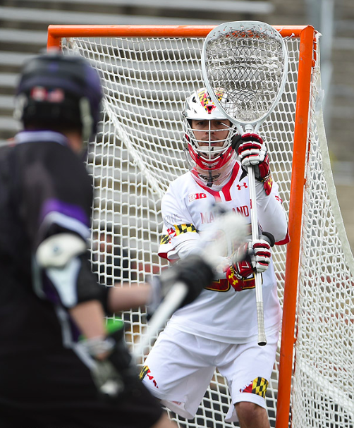 Lacrosse Goalie Setup Against Pipe